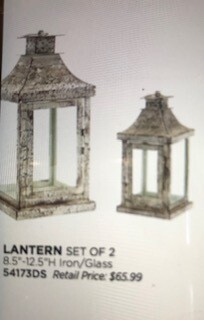 Home decor by Melrose/lantern set of 2/8.5