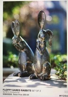 "Home decor by Melrose/rabbit decor/16.75""/set of 2"
