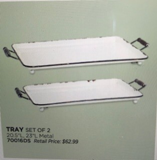 """Home decor by Melrose/white metal trays/set of 2/18""""x7.75"""" and 23.75""""x 9.75"""""""