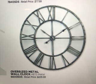 "Home decor by Melrose/clock/46"" diameter"