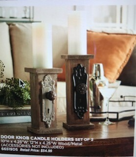 """Home decor by Melrose/Door knob candle holders/set of 2/10""""/12""""/wood & metal"""