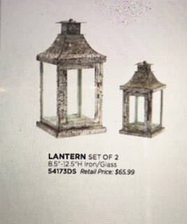 "Home decor by Melrose/lantern set of 2/ iron and glass/8.5"" and 12.5"""