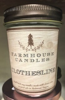 Farmhouse candle/Made in Oregon/Clothesline scent/small jar