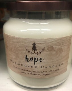 Farmhouse candle/made in Oregon/ Hope scent/lg jar