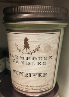 Farmhouse candle/made in Oregon, Sunriver scent, small jar