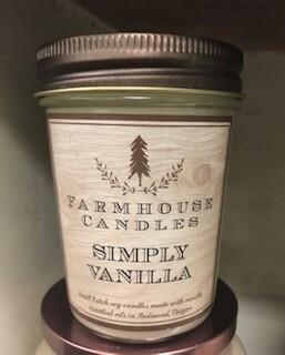 Farmhouse candle/Made in Oregon/simply vanilla/sm jar