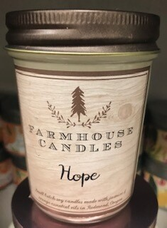 Farmhouse candle/Made in Oregon/Hope scent/small jar
