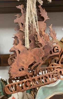 Home Decor/Rustic Metal/Cowboy/Bucking Bronc/Wyoming Ornament