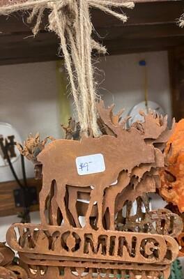 Home Decor/Rustic Metal/Moose/Wyoming ornament