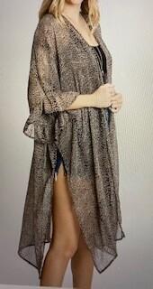 Apparel/light weight kimono/split on sides/ruffle sleeve/mid calf