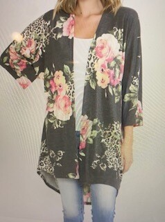 Apparel/floral on dark grey/soft light weight cardigan.Small-Large