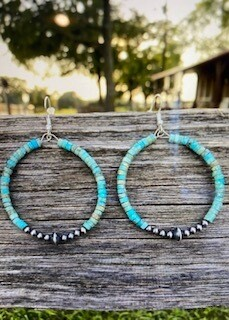 Jewelry/turquoise hoop earrings