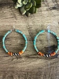 Jewelry/turquoise and spiny oyster earring