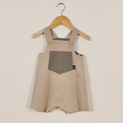 Linen Summer Short Overall Beige