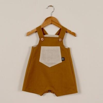 Linen Summer Short Overall Mustard