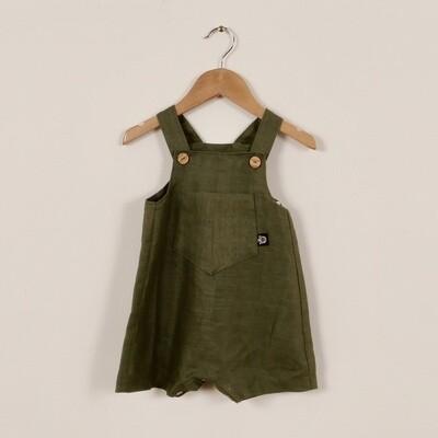 Linen Summer Short Overall Khaki