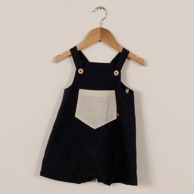 Linen Summer Short Overall Navy