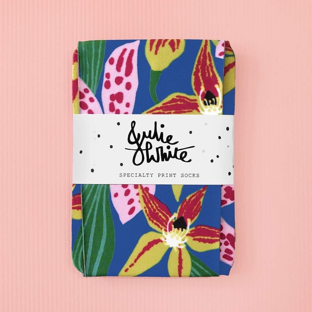 Julie White Socks Wild Orchids