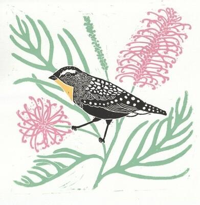 Tina Hall Art + Design - Spotted Pardalote lino print