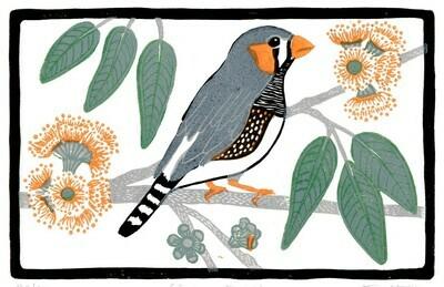 Tina Hall Art + Design - Zebra Finch lino print