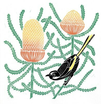 Tina Hall Art + Design - Banksia hookeriana lino print