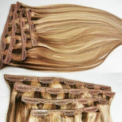 Clip in Set Farbe # 6/27 braun/Blond gesträhnt