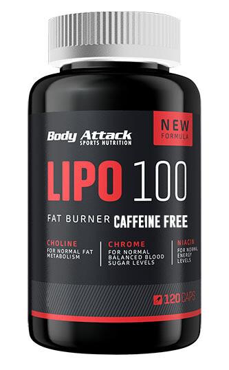 BODY ATTACK LIPO 100 CAFFEINE FREE 120 CAPS