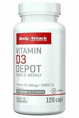 BODY ATTACK VITAMIN D3 DEPOT 120 CAPS