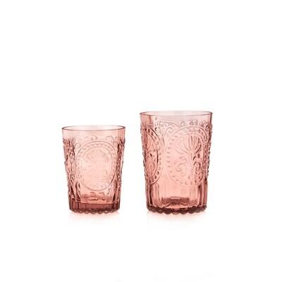 Verre à eau Fleur de Lys rose