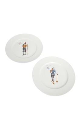 Set de 2 assiettes rondes skieurs