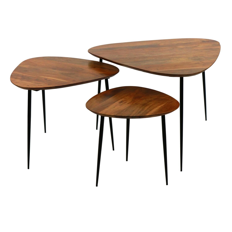 Set 3 tables en acacias Pomax