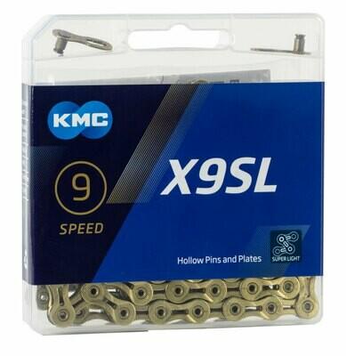 Ketting KMC X9SL 9V 11/128 Super Light Goud 114 Sch.
