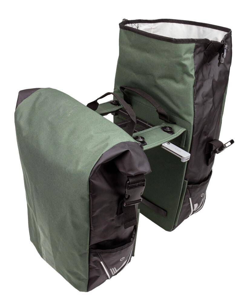 Dubbele Fietstas XLC V-Light Rolltop MIK BA-S107  48-56L Kleur: groen/zwart of zwart