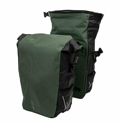 Dubbele Fietstas XLC V-Light Rolltop BA-S106 Groen/Zwart of groen 48-56L