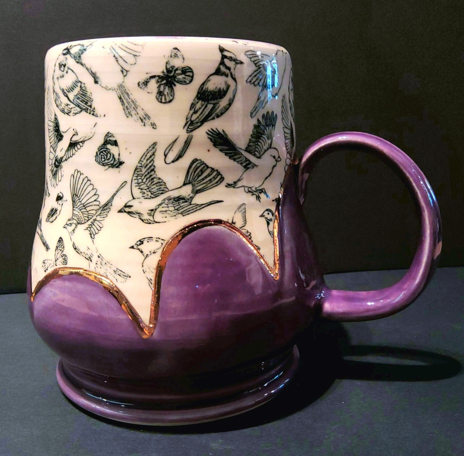 In Flight - Purple and Gold Lustre Scallop Handmade Mug, by Marian Pyron