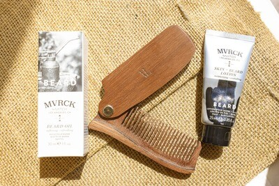 VLSS Hand-Carved Beard Comb Father's Day Gift Set