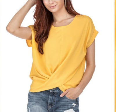 Yellow Twist Crop Top