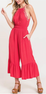 Coral Ruffle Jumpsuit