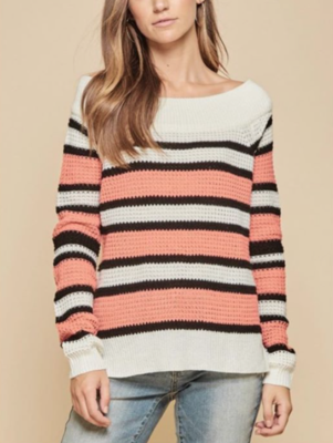 Coral Stripe Sweater