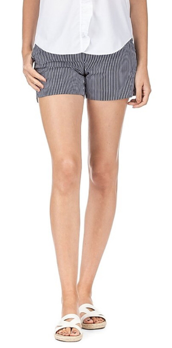 Navy Stripe Round Short