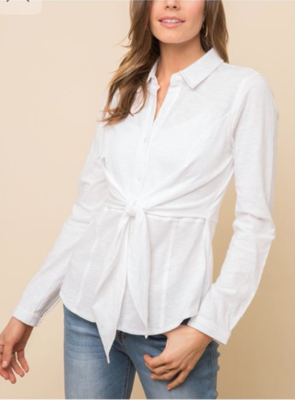 White Tie-Front Button Down