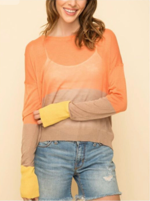 Orange Color-Block Sweater