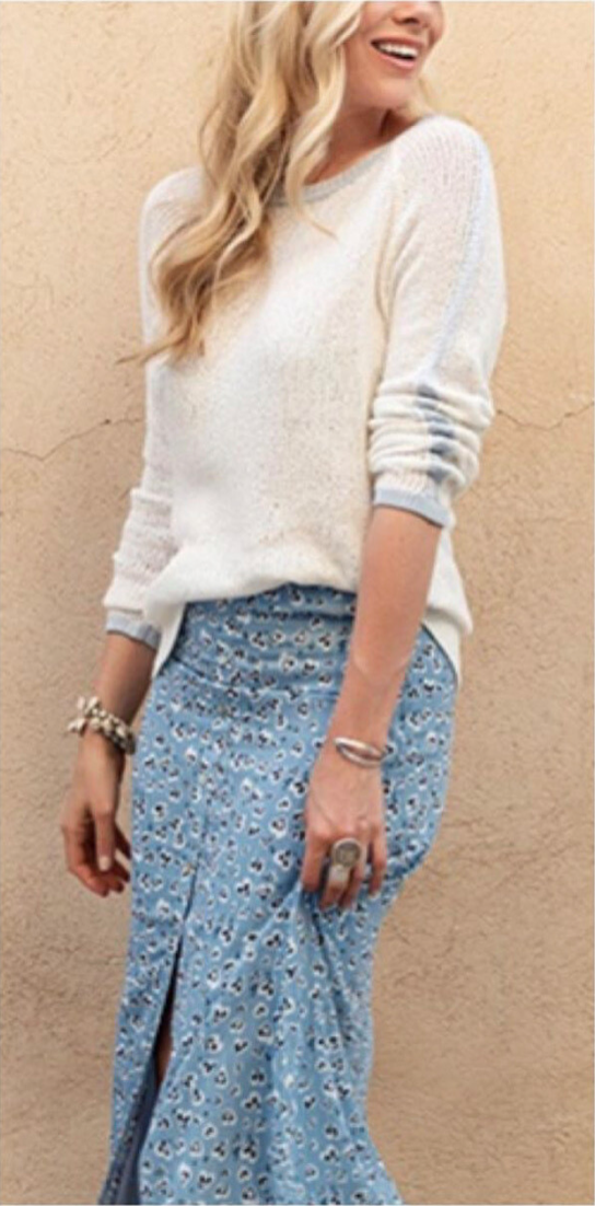 White W/ Blue Trim Sweater