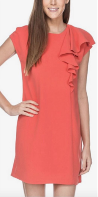 Coral Ruffle Sheath Dress