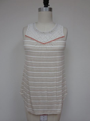 Taupe/Cream Stripe Tank