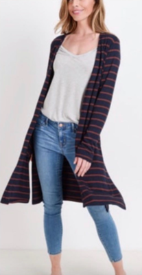 Navy/Brick Stripe Cardi