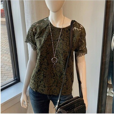 Olive Lace Short Sleeve Top