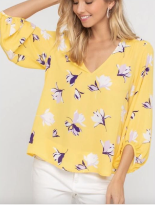 Yellow Floral Woven Blouse