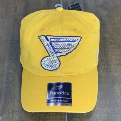 Yellow Fanatics Hat W/ Clear Crystal