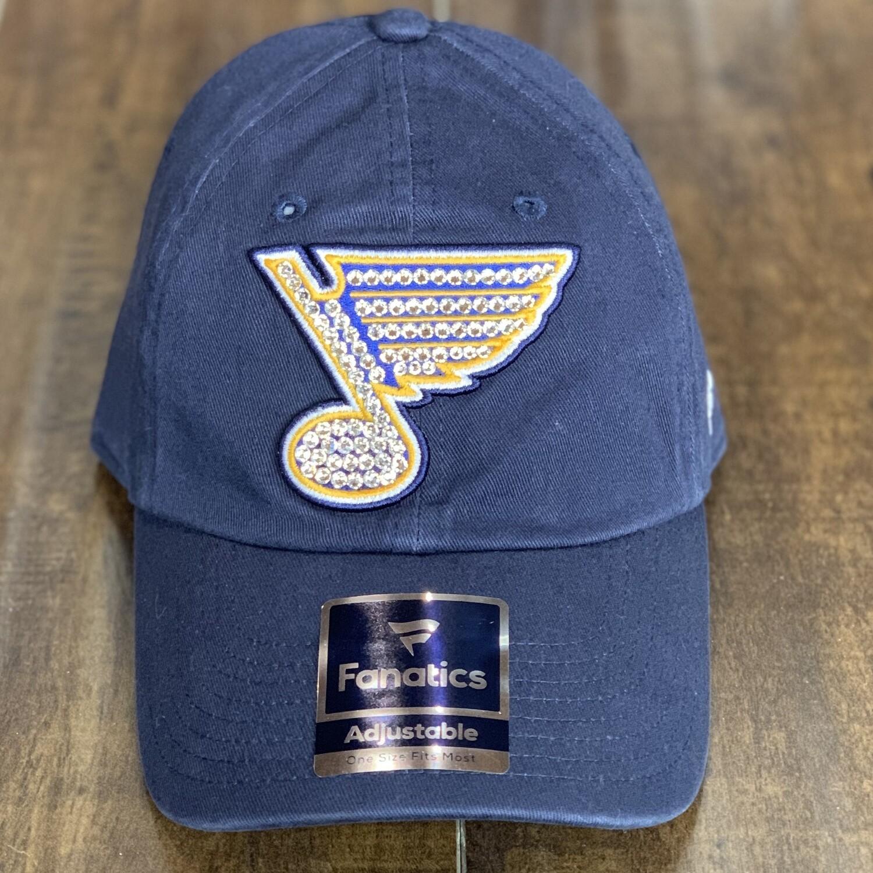 Navy Fanatics Hat W/ Clear Crystal